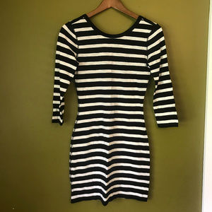 Express Bodycon Black & White Striped Mini Dress